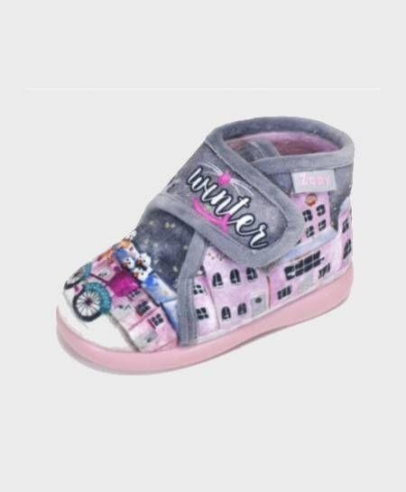 Zapatillas Botas de casa ZAPY Gris Rosa velcro Niña en Kolekole